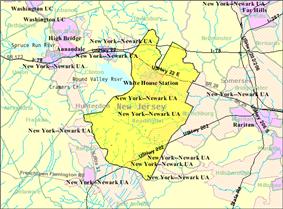 Census Bureau map of Readington Township, New Jersey