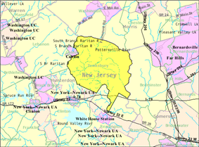 Census Bureau map of Tewksbury Township, New Jersey