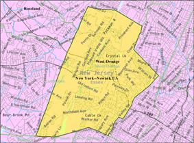 Census Bureau map of West Orange, New Jersey