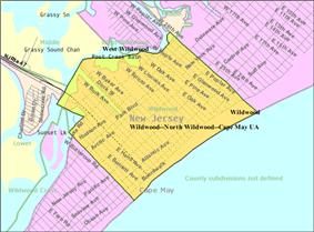 Census Bureau map of Wildwood, New Jersey