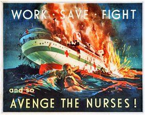 A painting showing a hospital ship on fire and sinking. In the foreground, a man and a woman cling to a spar to keep afloat, while other people are shown leaving the ship by lifeboat or jumping overboard. The poster is captioned across the top with the words