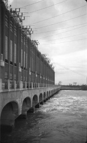 1941 photo of the hydroelectric dam at Beauharnois Power Development