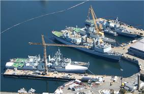 Aerial photograph of Canadian warships docked at Her Majesty's Canadian (HMC) Dockyard