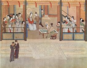 A building with many richly dressed women inside in the background with two men standing