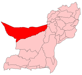 Map of Balochistan with Chagai District highlighted in maroon