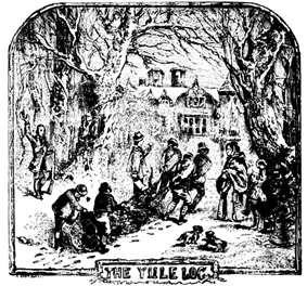 Engraving of four men and two boys dragging a large log through the snow on a path between trees towards a big house. They are surrounded by a man on one side, and a woman with a boy on the other side. The man and the boy are cheering at them. All are dressed according to British fashion of the 19th century.