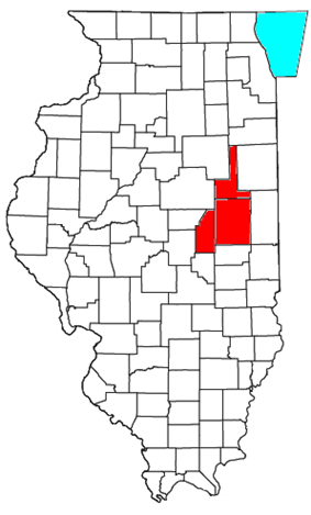 Champaign, Ford, and Piatt counties shown in red. Illinois portion of Lake Michigan shown in light blue.