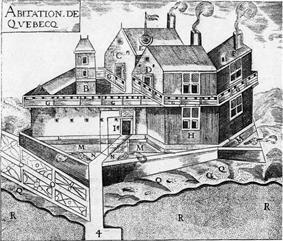 The Quebec Settlement : A.—The Warehouse. B.—Pigeon-loft. C.—Detached Buildings where we keep our arms and for Lodging our Workmen. D.—Another Detached Building for the Workmen. E.—Sun-dial. F.—Another Detached Building where is the Smithy and where the Workmen are Lodged. G.—Galleries all around the Lodgings. H.—The Sieur de Champlain's Lodgings. I.—The door of the Settlement with a Draw-bridge. L Promenade around the Settlement ten feet in width to the edge of the Moat. M.—Moat the whole way around the Settlement. O.—The Sieur de Champlain's Garden. P.—The Kitchen. Q.—Space in front of the Settlement on the Shore of the River. R.—The great River St. Lawrence.