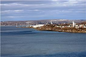 The Davie Shipyard seen from a distance over the water