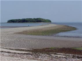 Beach, tombolo and island