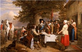 The painting is of a group of 17th century men and women, under a large tree in front of a stone building. The King, in armour does appear to be listening to this group, mostly consisting of his advisors. Prince Rupert is sat to the right, pointing to a map on the table. A dog sits under the table, whilst a retainer with a horse waits on the left of the scene. Two women dressed in domestic clothes are paused on the right of the scene.