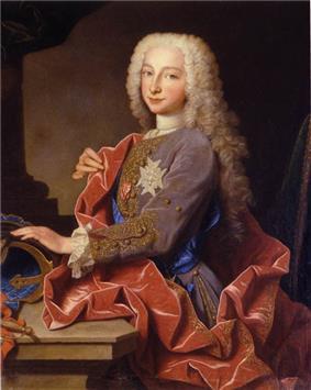 A nine-year-old boy wears a powdered per-wig, striking a typical Baroque pose.