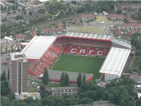 Aerial view of The Valley, Charlton Athletic's stadium