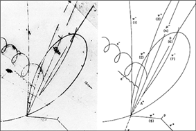 Photo of bubble chamber tracks next to diagram of same tracks. A neutrino (unseen in photo) enters from below and collides with a proton, producing a negatively charged muon, three positively charged pions, and one negatively charged pion, as well as a neutral lambda baryon (unseen in photograph). The lambda baryon then decays into a proton and a negative pion, producing a