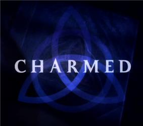 a dark blue triquetra over a darker blue background that fades to black near the edges with the word