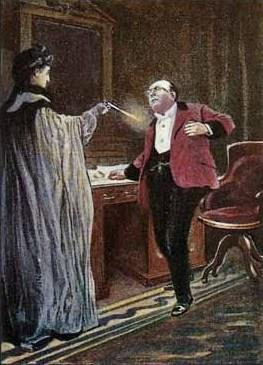 Painting of a woman shooting a man in a room