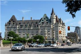 Exterior view of the west facade of the Château Laurier