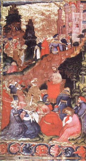 An illustrated page. In the foreground a man in a stand talks to reclining robed figures. In the middle ground is a forest and a road along which various figures travel towards a castle in the background.