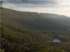 Cheaha Lake at the base of Mount Cheaha from above.