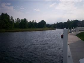A view of the Cheboygan River from walkway along the edge