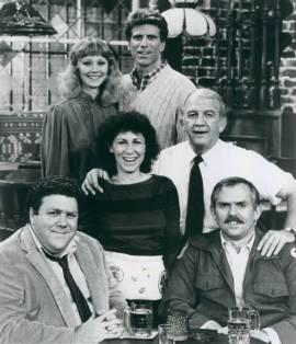 Background is the bar setting. Top row has a blond waitress and a handsome bartender. Middle row has a brunette perm waitress and an old bartender. Bottom row has a suit-dressed man and a mailman.