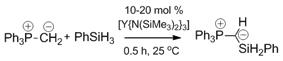 Yttrium catalysed dehydrocoupling of triphenylphosphonium methylide and phenylsilane.