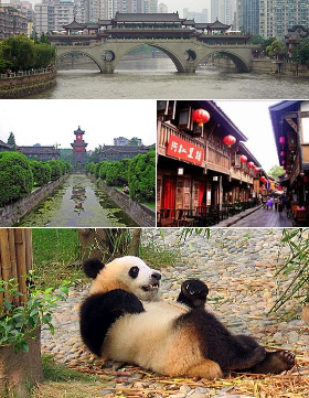 Clockwise from top: Anshun Bridge, Jinli, Chengdu Panda Base, and Sichuan University.