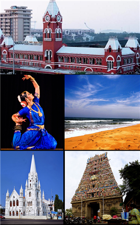 Clockwise from top: Madras Central, Marina Beach, Kapaleeswarar Temple, Santhome Basilica, Bharata Natyam recital.