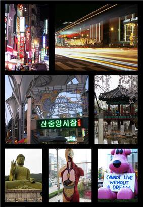 Left to right: Shinbu lanes, Terminal, Namsan Public market, Samgeori Park, Taejeosan Bronze Buddha, Arario Gallery sculpture, Yawoori dream bear