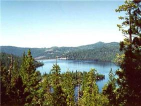 Cherry Lake and the surrounding forest.