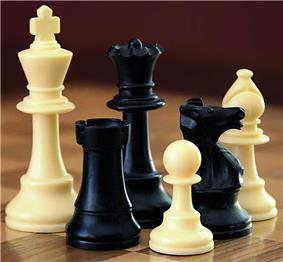 Photo shows the six types of chess pieces in the Staunton style.