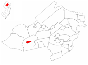 Chester Borough highlighted in Morris County. Inset: Location of Morris County highlighted in the State of New Jersey.