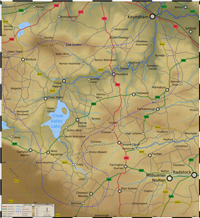 Map showing the lake, rivers and major roads
