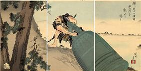 An ukiyo-e woodblock print, in three panels, depicting a muscular man dragging a large bell up a hillside