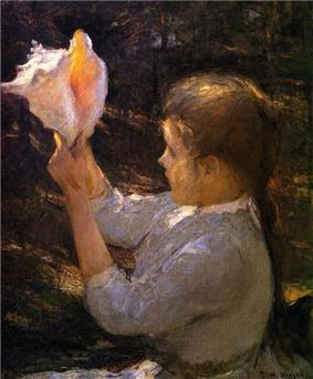 Very early 20th century painting of a young girl holding a shell of this species up to the light and looking into it
