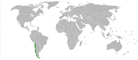 Map indicating locations of Chile and Estonia