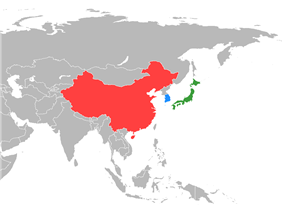 Map of East Asia indicating China (red), Japan (green) and South Korea (blue)