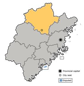 Location of Nanping City jurisdiction in Fujian
