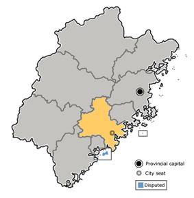 Location of Quanzhou City in Fujian