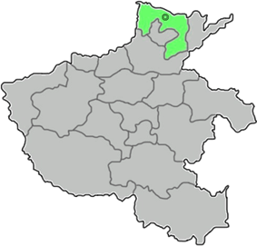Location of Anyang City jurisdiction in Henan