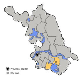 Location of Wuxi City jurisdiction in Jiangsu