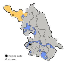 Location of Xuzhou City jurisdiction in Jiangsu