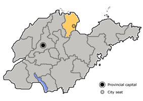 Location of Dongying City administration in Shandong