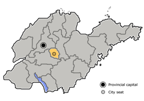Location of Laiwu City (yellow) in Shandong