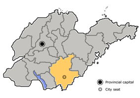 Location of Linyi City jurisdiction in Shandong