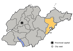 Location of Qingdao City (yellow) in Shandong province