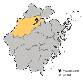 Location of Hangzhou City jurisdiction in Zhejiang
