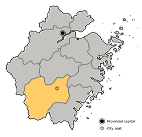Location of Lishui City jurisdiction in the province