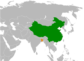 Map indicating locations of China and Bangladesh