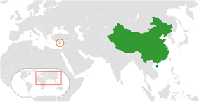 Map indicating locations of China and Cyprus